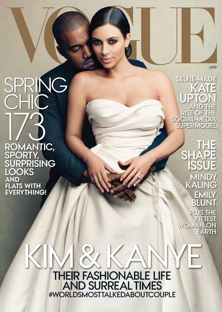 Kim Kardashian and Kanye West covet the Vogue April 2014 cover