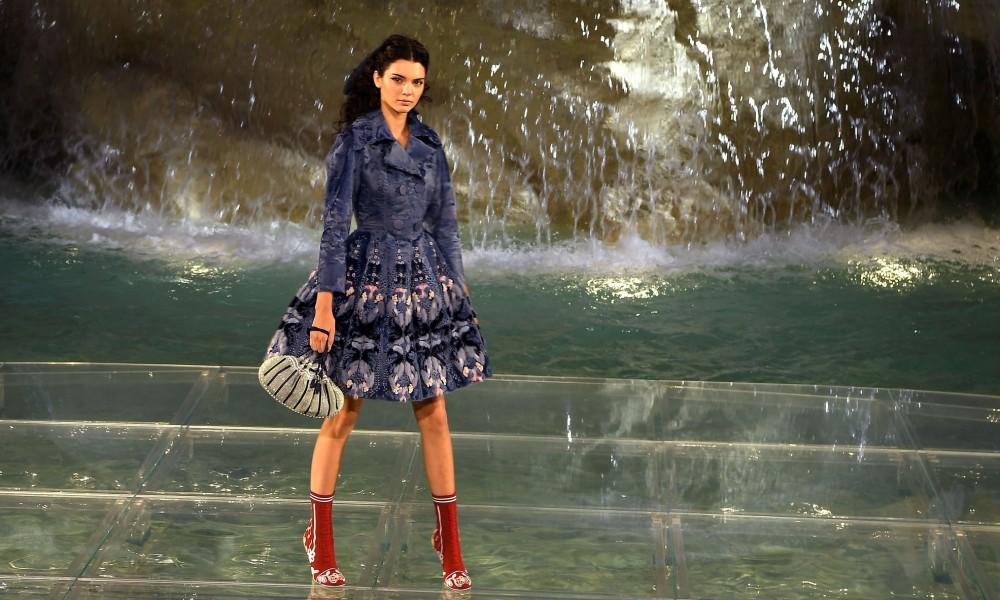 Kendall Jenner walks the runway at Fendi Roma 90 Years Anniversary fashion show at Fontana di Trevi